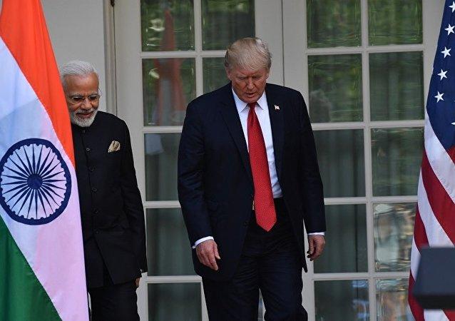 美国总统唐纳德•特朗普会见印度总理莫迪
