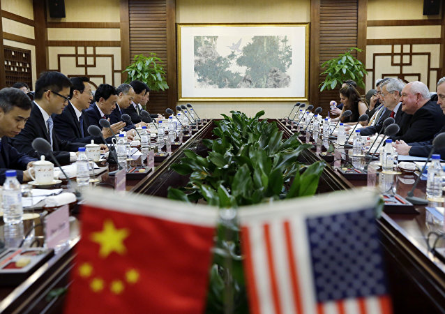 U.S. Secretary of Agriculture Sonny Perdue meets China's Minister of Agriculture Han Changfu