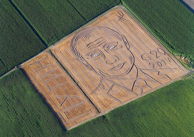 卫星航拍到意大利农夫在小麦地中创作的俄总统普京肖像