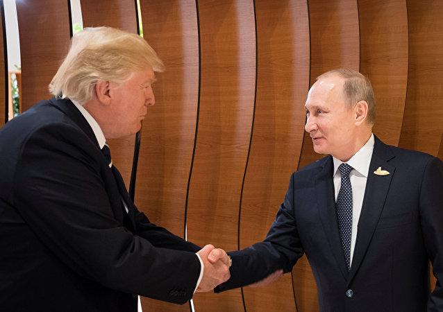 2017年7月7日在汉堡举行G20峰会期间,普京与特朗普进行了首次会晤