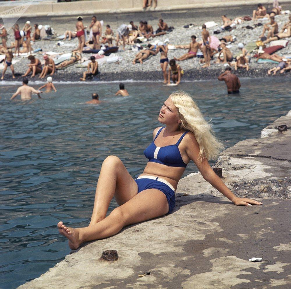 索契的海滩,1970年。