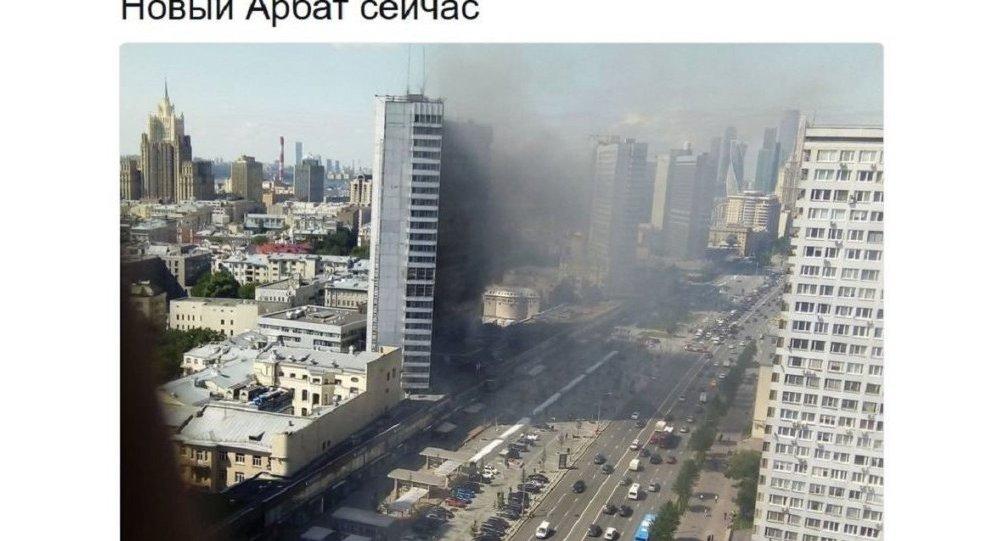 """莫斯科新阿尔巴特大街""""书楼""""起火"""