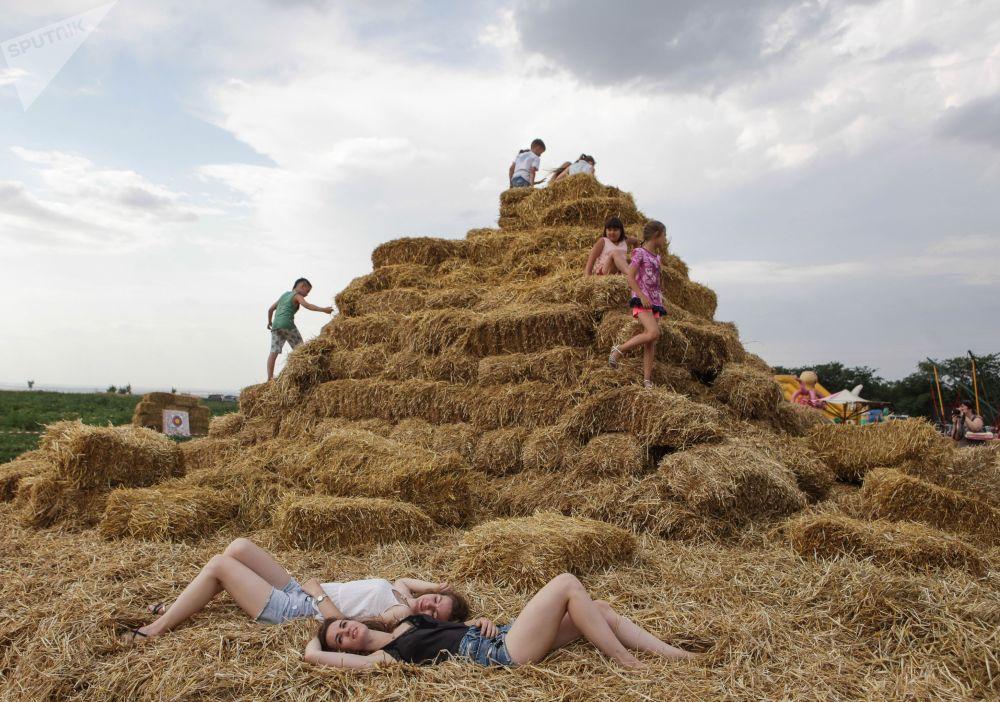 斯塔夫罗波尔边疆区稻草人公园的游客