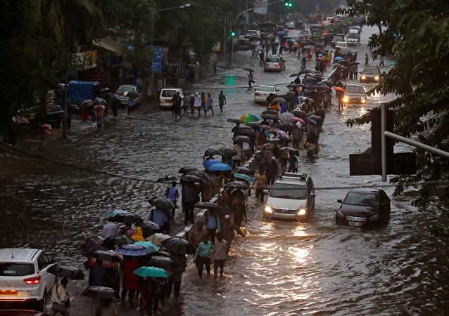 印度孟买暴雨