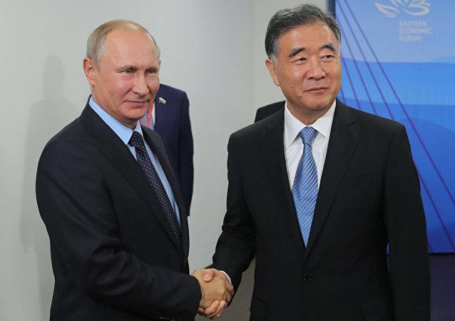 俄罗斯总统普京与中国国务院副总理汪洋