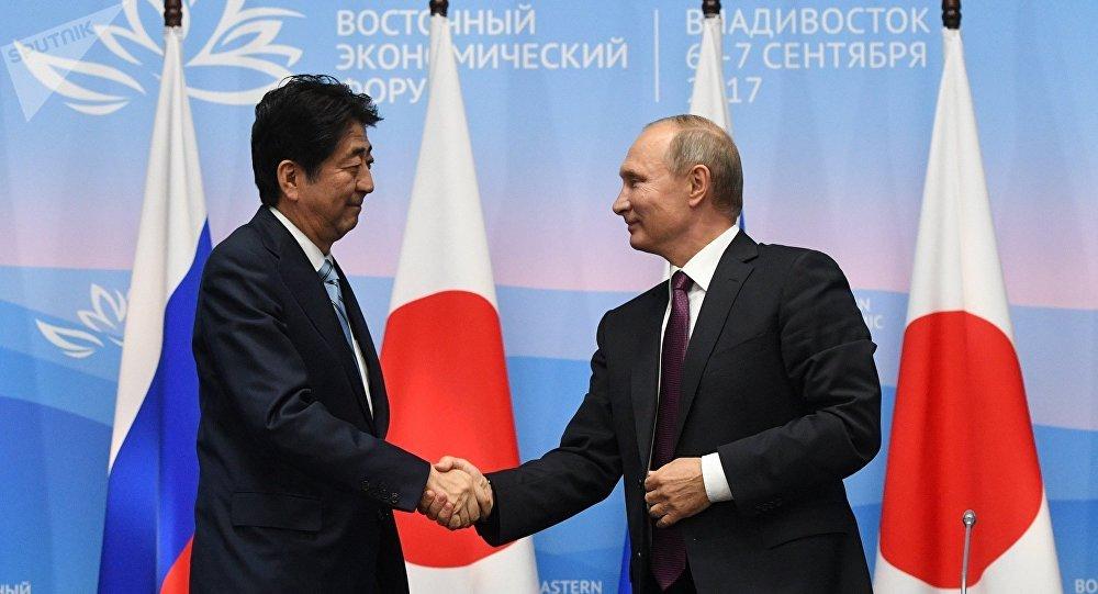 俄总统普京与日本首相安倍