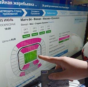 球迷自2018年足球世界杯球票开售一天来已递交逾50万份购票申请