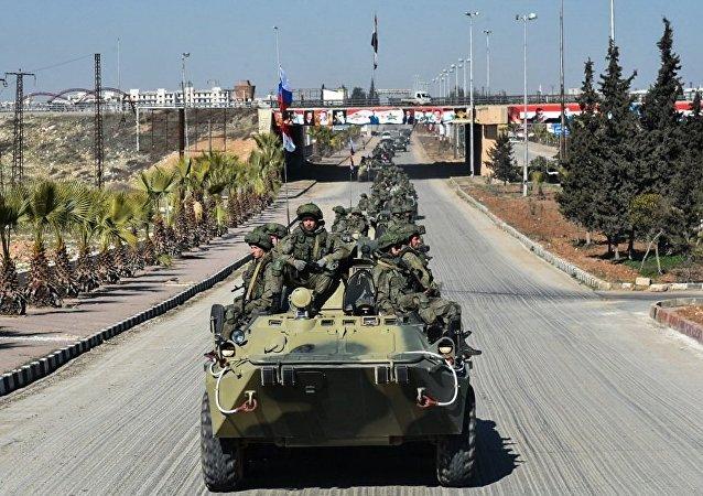 叙利亚阿勒颇举行纪念牺牲的俄叙军人纪念石揭幕仪式