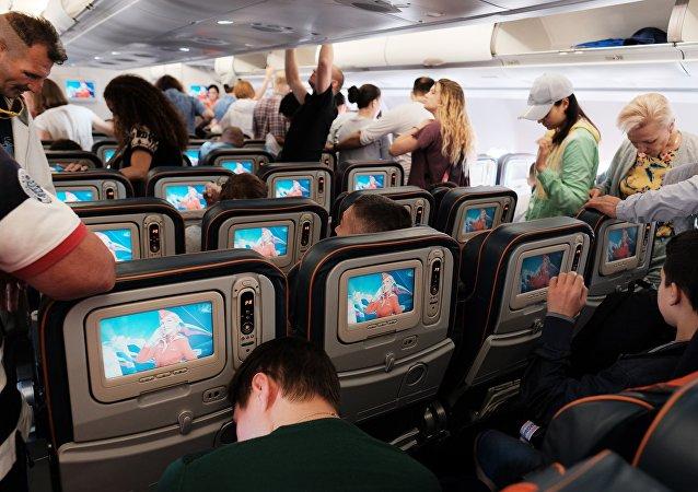 Пассажиры в самолете авиакомпании Аэрофлот