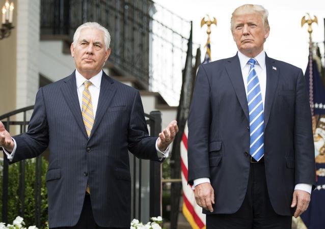 美国总统特朗普与美国国务卿蒂勒森