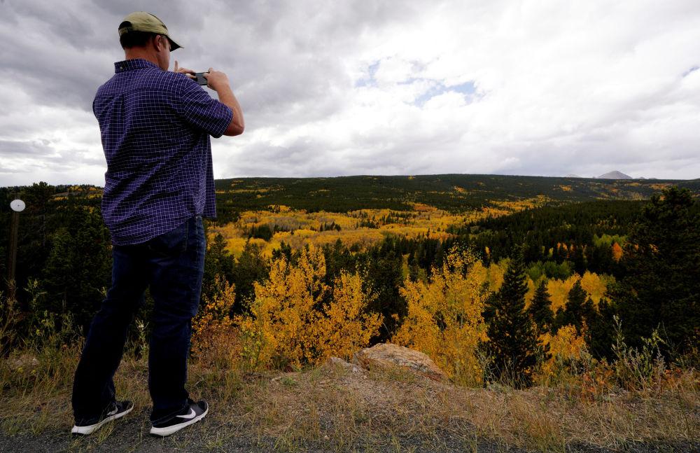 在美國科羅拉多州的阿斯彭,一名男子正在拍攝秋天的樹林。
