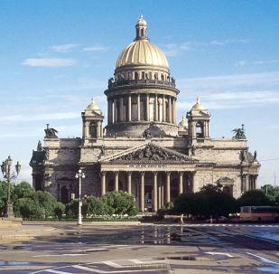 """俄圣彼得堡为庆祝建城315周年举行""""时间胶囊""""奠基仪式"""