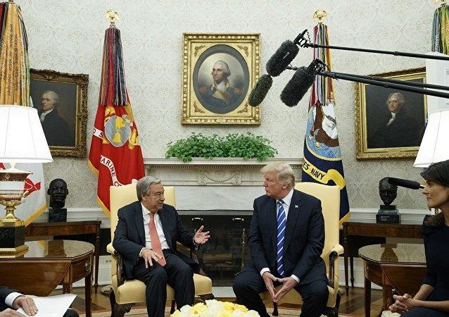 美总统与联合国秘书长讨论了调解朝鲜叙利亚局势等问题
