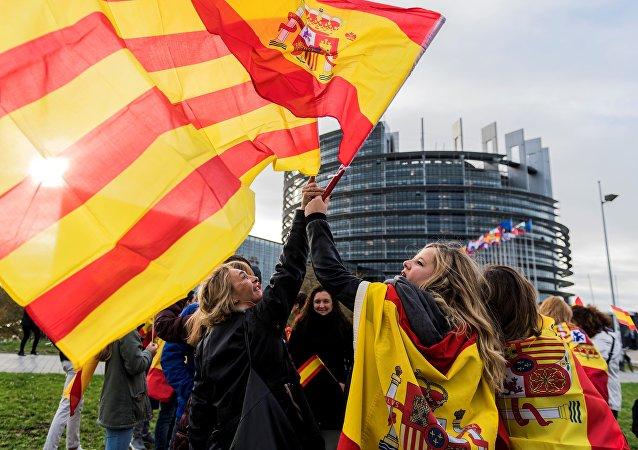 西班牙与加泰罗尼亚自治区旗