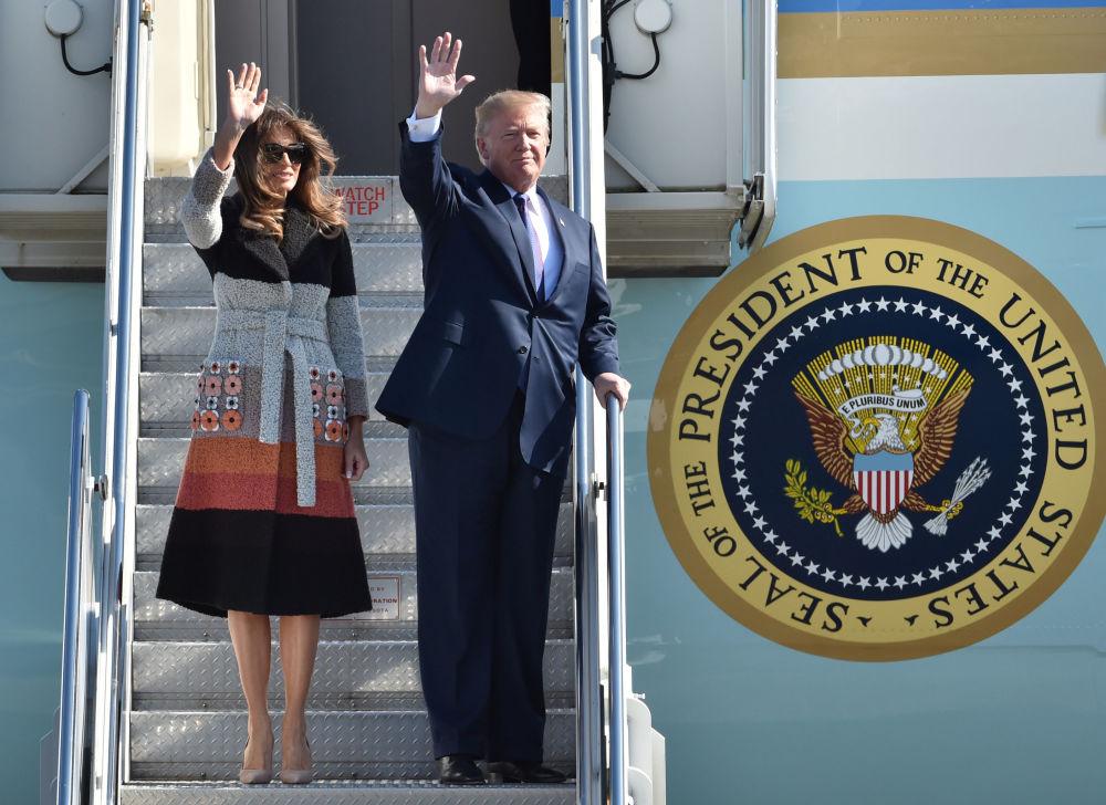 美國總統唐納德·特朗普和夫人梅拉尼婭在日本