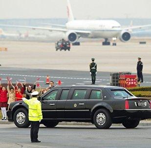 特朗普訪華期間座駕掛上中國車牌