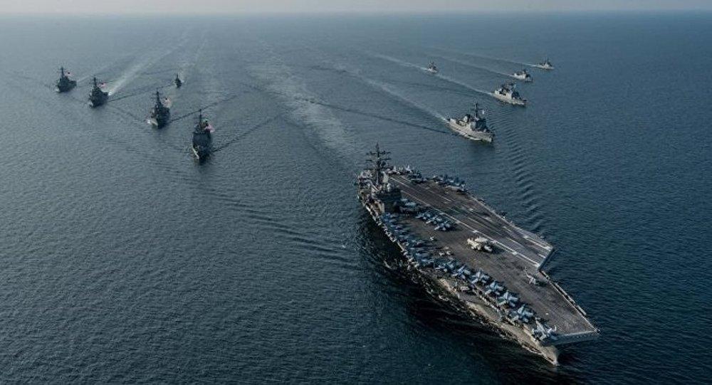 美国发演习视频:三艘美航母出现在韩国海岸
