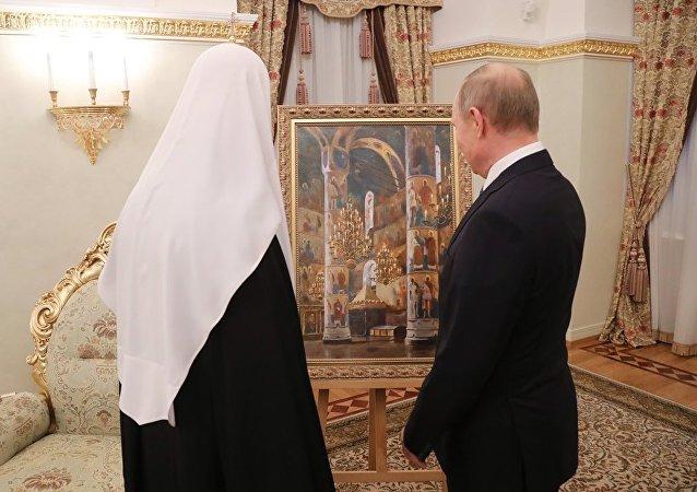 俄画家拒绝透露普京赠予基里尔大牧首的油画市价