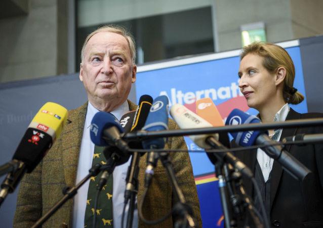 德国右翼政党德国选择党领导人爱丽丝·韦德尔和亚历山德尔·高朗德