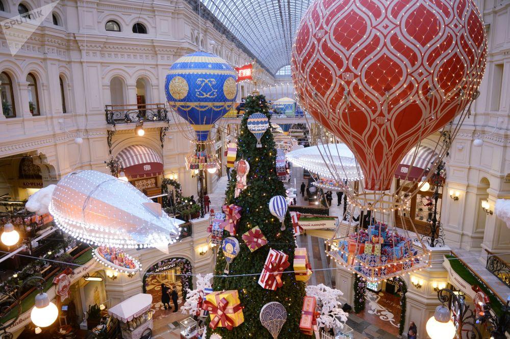 莫斯科古姆百货商场的节日装饰