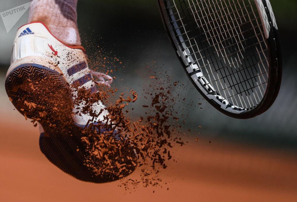 诺瓦克·德约科维奇(塞尔维亚)在法国网球公开赛男子单打比赛中
