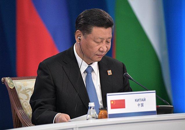 中國國家主席習近平10日在青島國際會議中心舉行的上海合作組織成員國領導人大範圍會談上