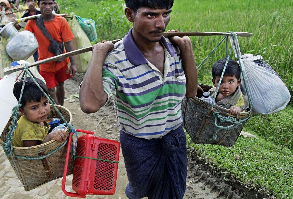 羅興亞難民到達孟加拉國與緬甸邊境的巴魯卡里營地(Balukhali)