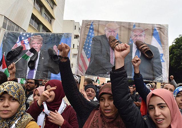 摩洛哥数万人示威游行反对特朗普有关耶路撒冷的决定