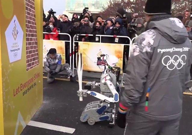韓國一機器人傳遞奧林匹克火炬