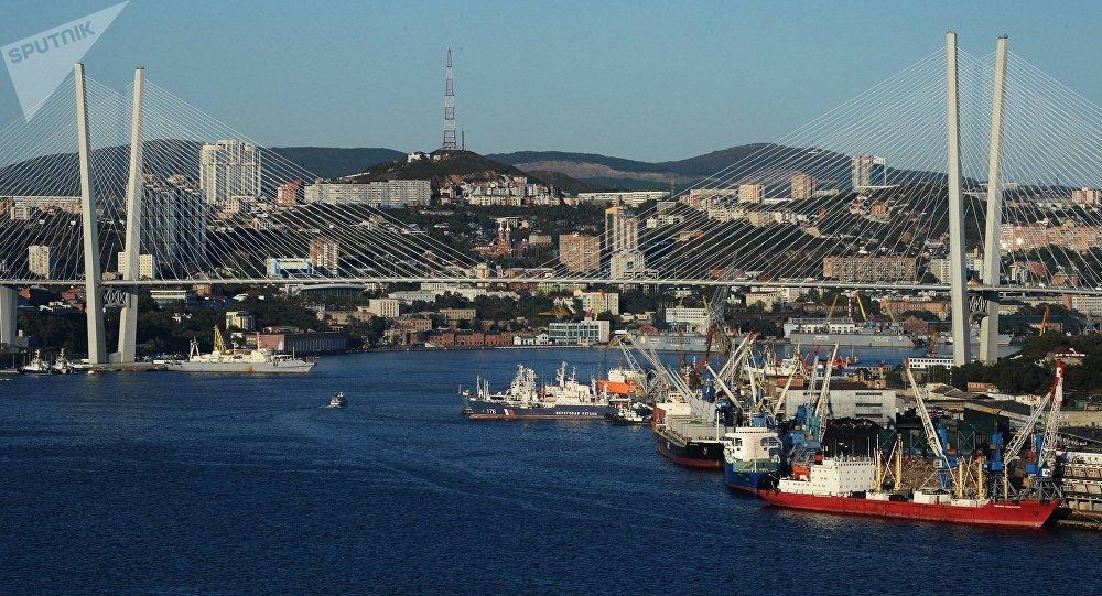 Вантовый мост через бухту Золотой Рог во Владивостоке