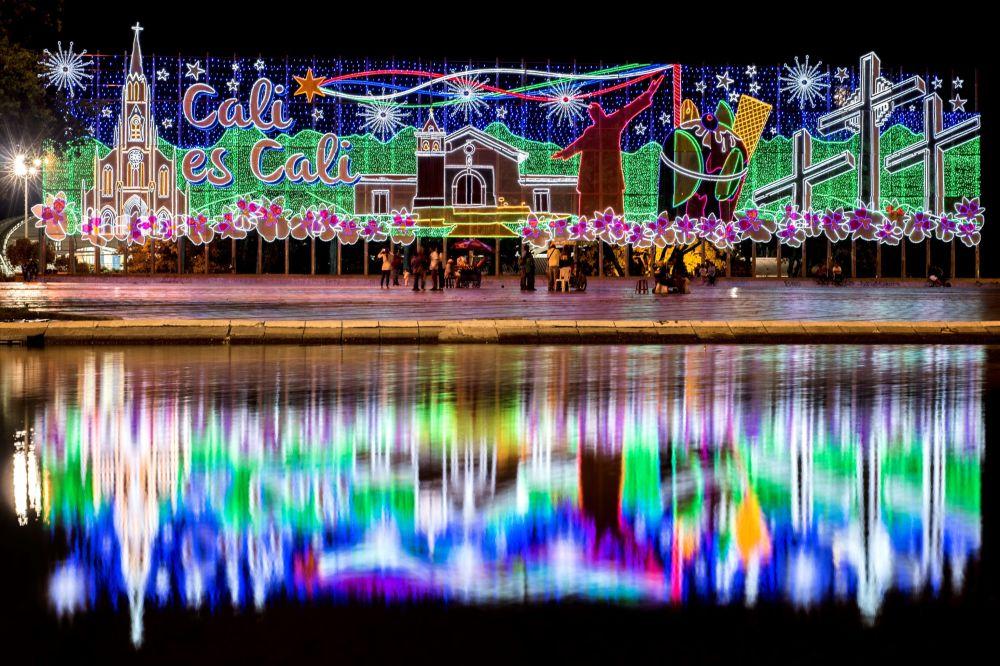 哥倫比亞的新年彩燈