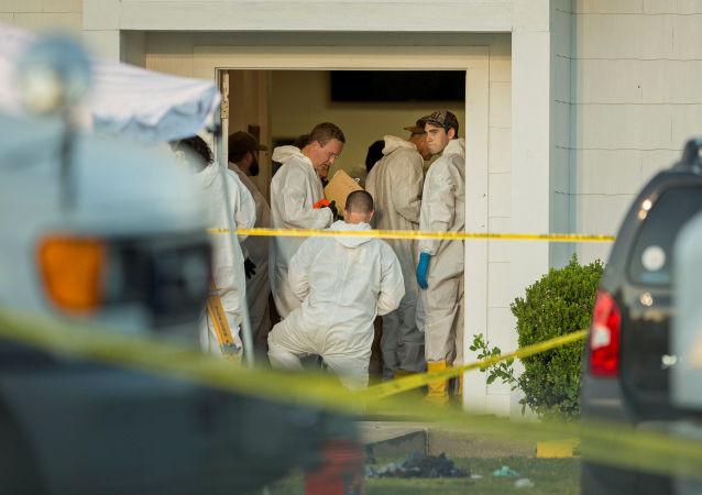 犯罪侦察学家在圣安东尼奥附近的萨瑟兰斯普林斯教堂