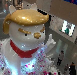 太原現巨型「特朗普狗」塑像
