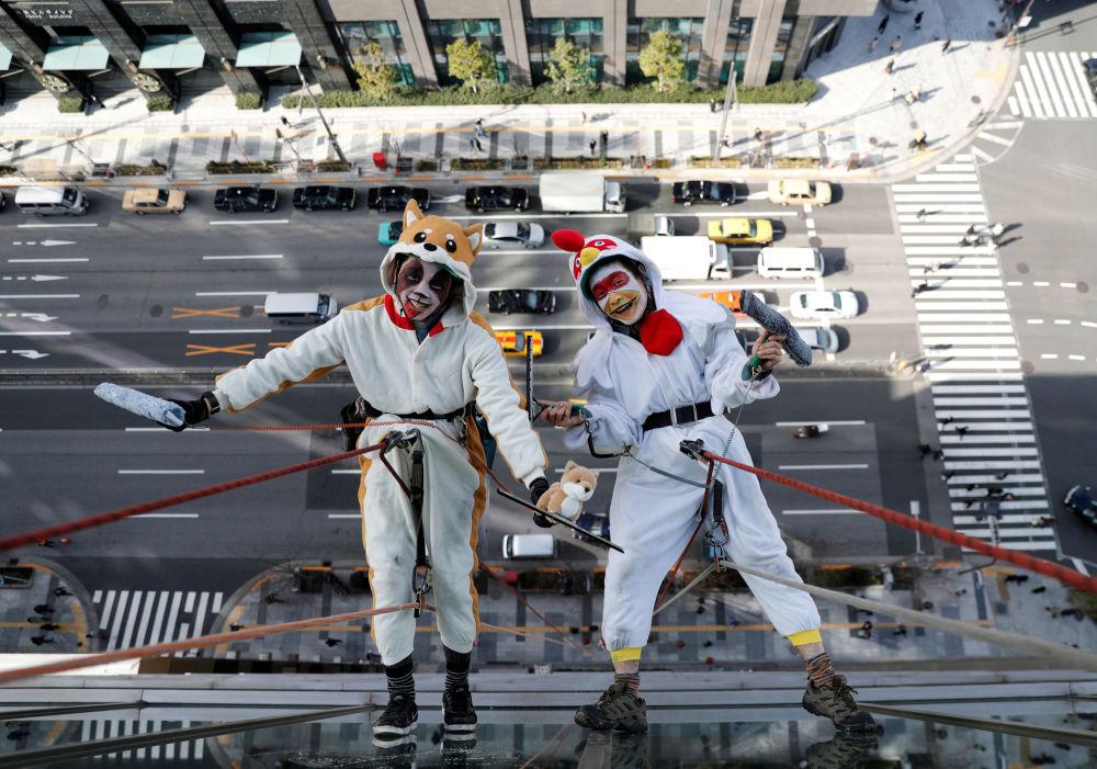 日本東京,身穿象徵2017年和2018年雞年和狗年衣服的窗戶清潔工們。
