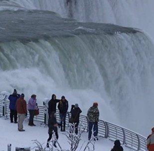 異常寒冷讓尼亞加拉大瀑布變成冰雪之國