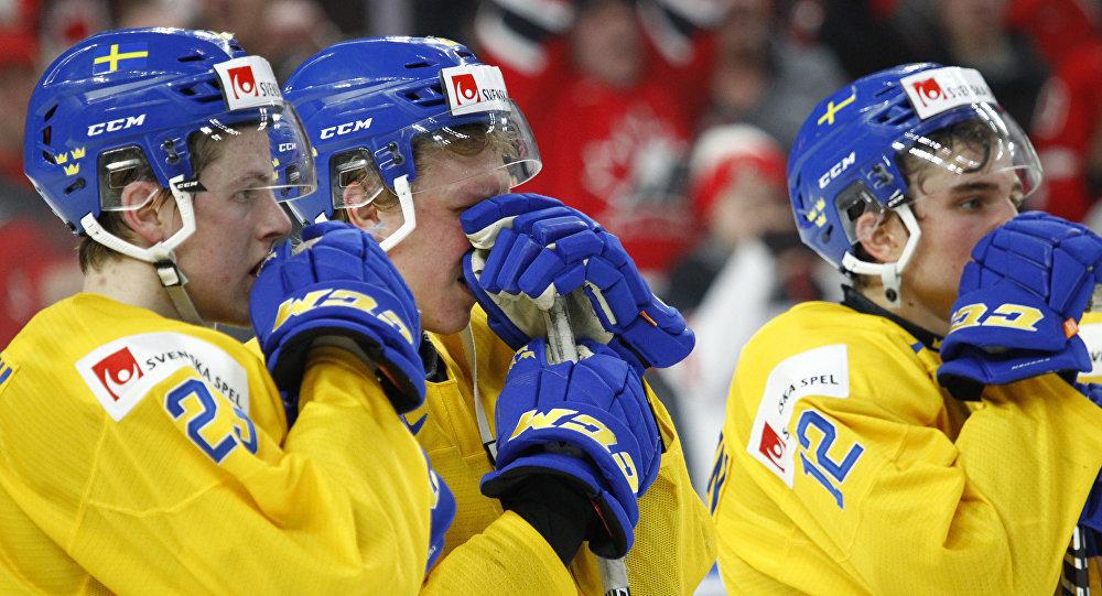 一瑞典冰球运动员在比赛失利后因失望将奖牌扔给球迷