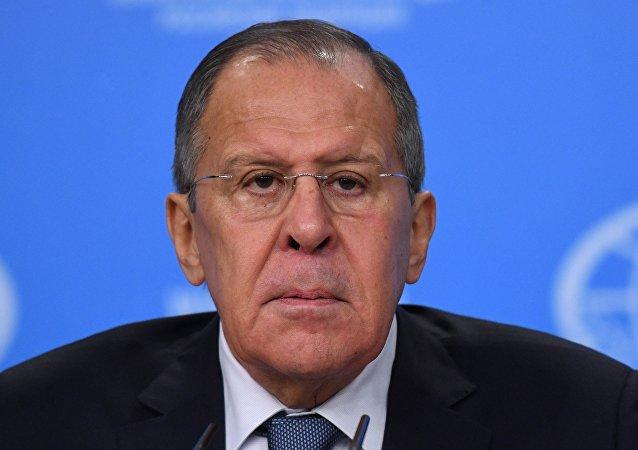 Министр иностранных дел России Сергей Лавров на пресс-конференции по итогам деятельности российской дипломатии в 2017 году