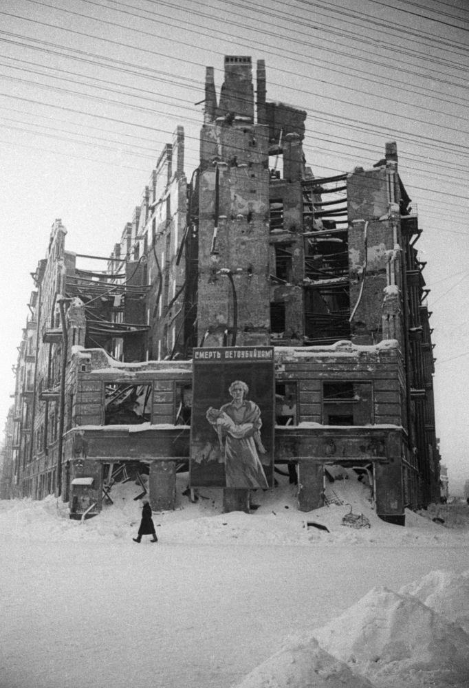 列宁格勒受损的房屋