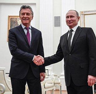 俄罗斯总统普京与阿根廷总统马克里