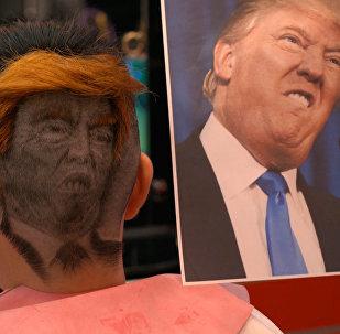 """理发师打造""""后脑勺上的普京和特朗普"""""""