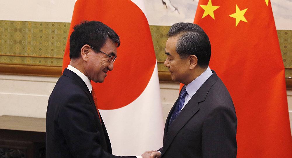 日本外相河野太郎與中國國務委員兼外交部長王毅