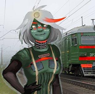 俄罗斯青年女画家画的拟人化的列车