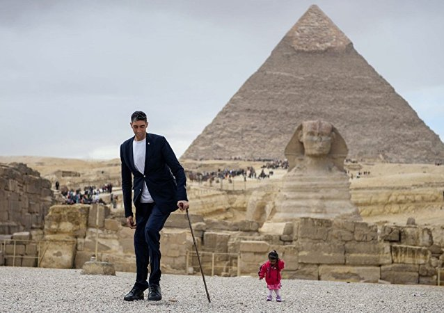世界巨高男和袖珍女在埃及相会