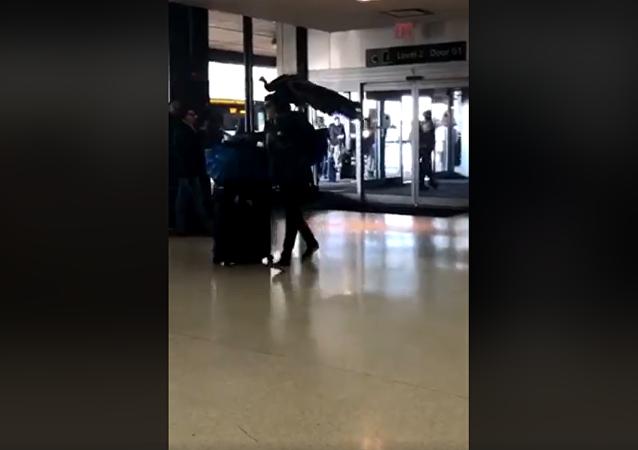 女子带孔雀上飞机遭拒