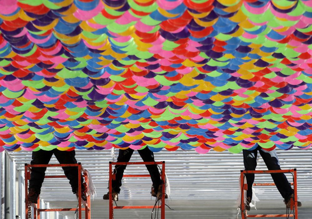 平昌奥林匹克广场上的气球