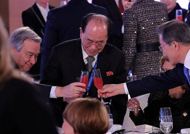 联合国秘书长在冬奥会开幕式会见朝鲜名义元首金永南