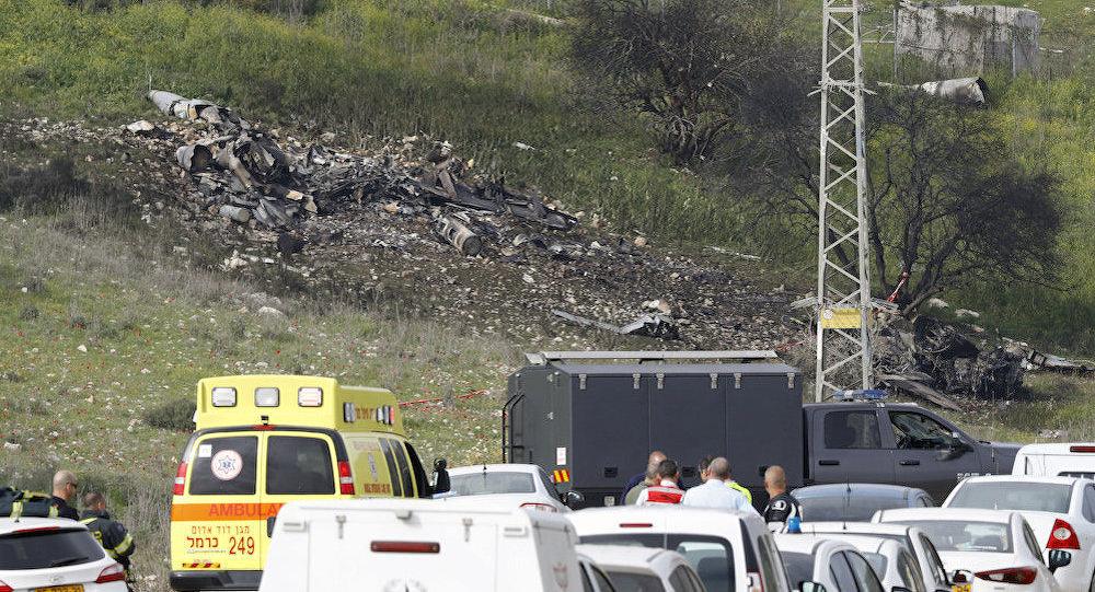 F-16战斗机空袭叙利亚后在以色列北部坠毁