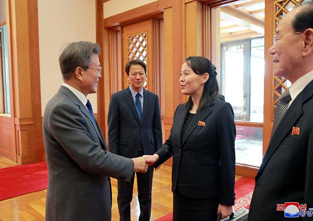 朝鲜代表团与韩国总统的会谈