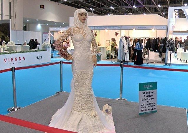 迪拜展出超大豪華新娘蛋糕