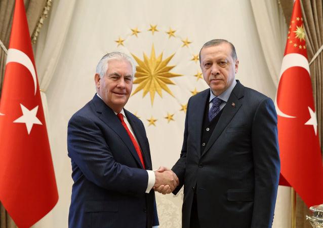 美国国务卿蒂勒森与土耳其总统埃尔多安